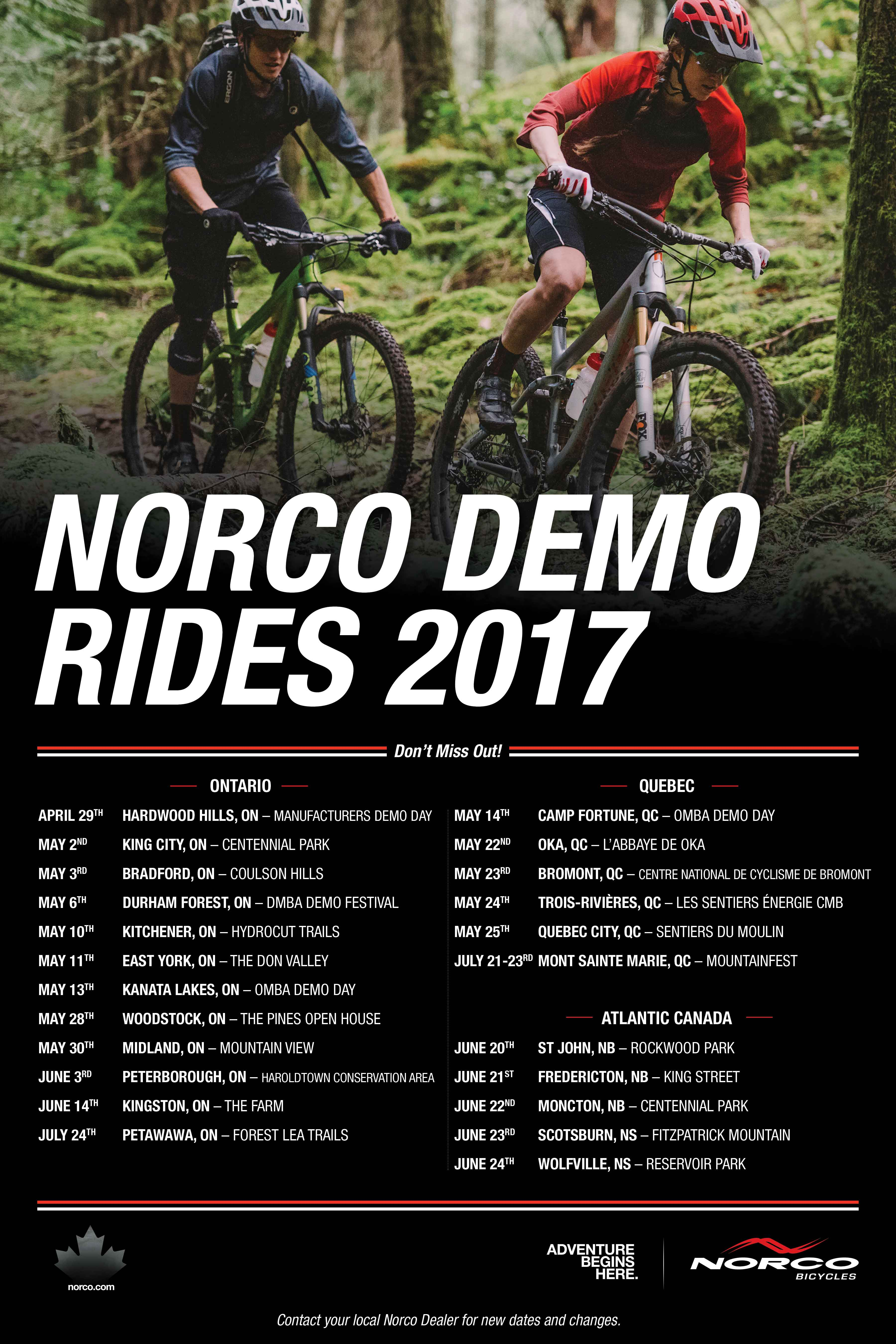 2017 Norco Demo Days Poster